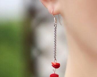 Red Coral Silver Earrings Long Coral Earrings Silver Chain Earrings Coral Chain Earrings Red Earrings Modern Earrings Red Silver Earrings