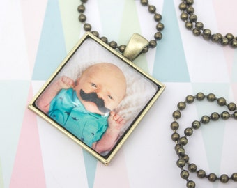 Photo Necklace - Square Photo Pendant - Personalized Gift - Custom Necklace - Photo Keepsake - Photo Jewelry - 25 mm / 1 in Square