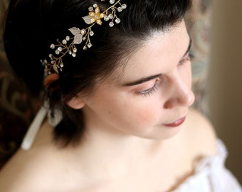 Golden Tiara Circlet Bridal Wedding Crown made with Small Flowers,Bridal Hair Vine Bridal Headpiece Wedding Headpiece