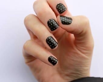 Black & Gold Swiss Dot Nail Wraps