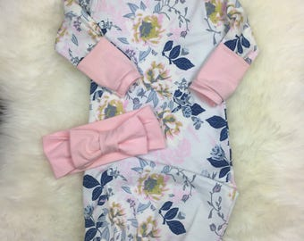 Newborn girl coming home outfit, Infant girl Layette Gown in Soft Floral with Blush Bow Turban or Floral Top Knot