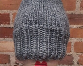 Hand Knit Hat - Medium Grey Lamb Wool and Acrylic Winter Hand Knit Hat