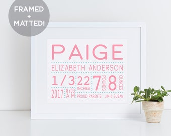 Birth Announcement Framed Print, Nursery Wall Decor, New Baby Gift, Modern Nursery Art, Baby Girl Print, Woodland Nursery, Baby Art