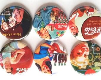 Coke Magnets, Coca-Cola Magnets, Refrigerator Magnets, Fridge Magnets, Vintage Coke Magnets, Fun Magnets, Retro Coke Ads Magnets, Set of 6