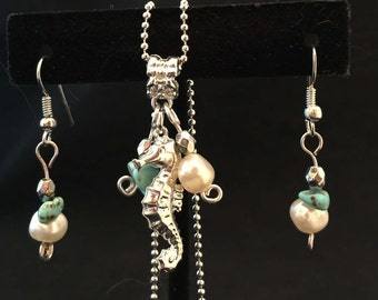 Necklace and Earring Set - Seahorse Cluster Pendant Necklace and Earring Set with Freshwater Pearls - FREE SHIPPING