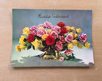vintage Dutch birthday postcard 1950's
