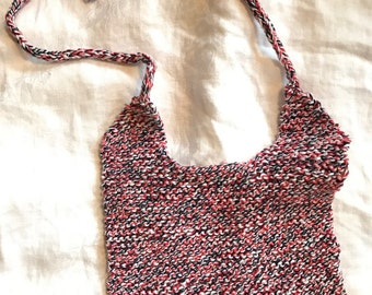 Knitted Baby Bib, Red, White, and Blue