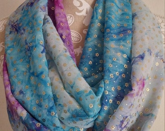 Colorful  Infinity Scarf , Woman scarves, loop scarf, accessories, eternity scarf, circle scarf, gift for her, Batik Infinity, chiffon scarf