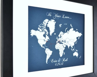 Connecting hearts love map gift, boyfriend long distance, relationship print, military, deployment gift for him, personalized world map