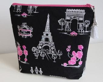 Paris Poodle Makeup Bag Organizer Jewelry Pouch