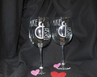 Love & Names 16 ounce  stemmed glasses