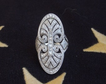 Art Deco Style 18K White Gold and Diamond Navette Ring
