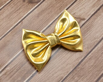 Large Gold Hair Bow, Large Gold Bow, Gold Accessories, Gold Hair Clip, Gold Bow Clip, Gold Metalic Bow, Gold Fancy Bow, Metallic Spandex Bow