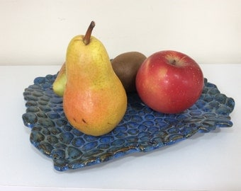 Pottery - Ceramic Platter - Ceramic Appetizer tray - Ceramic Blue Tray - Blue Platter