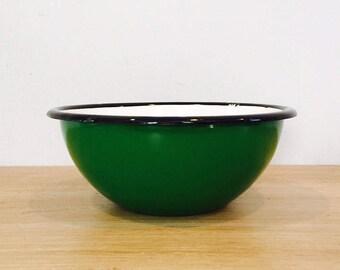 Vintage Bright Green Enamel Bowl Made in Poland