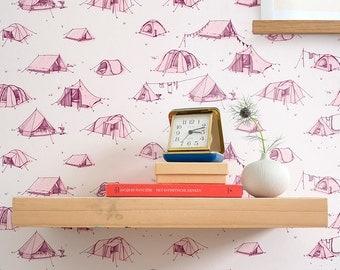 PER METRE - Handprinted wallpaper Tents Screenprinted walldecor Base Camp