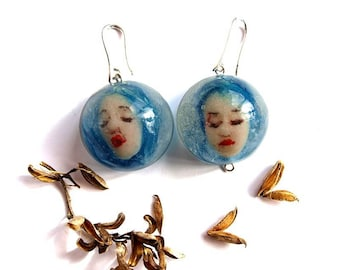 Sky blue witch earrings Mini dolls Funky earrings Cool earrings Terrarium earrings Shrunken head earrings  Terrarium jewelry Weird stuff