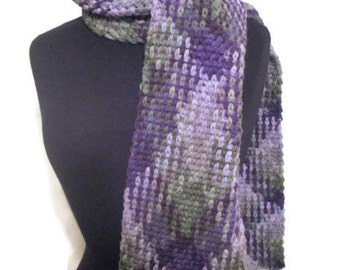 Planned pooling argyle scarf in purples olive green and gray