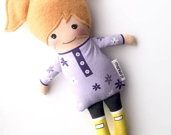 Red Headed Fabric Doll - Spring tunic + Rubber Boots | Baby Doll | Cloth Doll Rag Doll