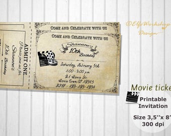 Movie night invitation, Movie ticket , Birthday party invitation, Cinema invitation, Vintage Film, Printable Ticket, Personalized invitation