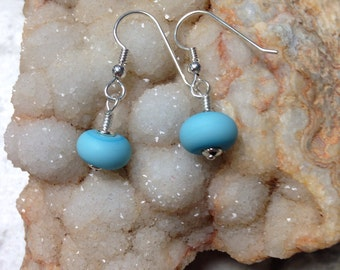 OOAK Etched Artistic Turquoise Blue and Sterling Silver Earrings