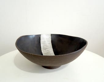 Black and white striped stoneware serving bowl, fruit bowl