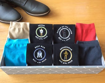 Star Inspired Wedding Socks, Grooms Socks, Groomsmen Gifts, Wedding Party Gift, Personalized Wedding Attire Accessory Sold by the Pair