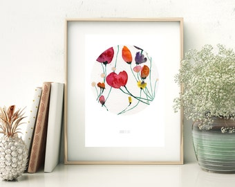 Red poppies wall art print, Red poppy and meadow flowers wall art. Poppies art print. Modern art from watercolour painting. Minimalist art.