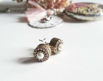 925 Silver earrings with Pearl and Zircons