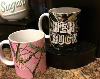 Her Buck, His Doe 11 oz mug set. Boyfriend Gift, Gift For Him, Girlfriend Gift, Gift for Wife.
