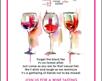 Wine Tasting Invitation, Wine and cheese party invitation, Summer Party, Wine Party, Printable