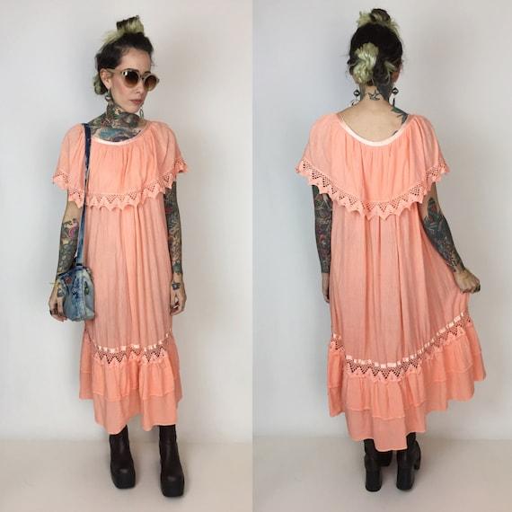Handmade Peach Ruffle Midi Dress Size Small Medium - Handmade Fesitval Boho Hippie Lace Trim Dress - Vtg Cotton Bohemian Flowy Midi Sundress