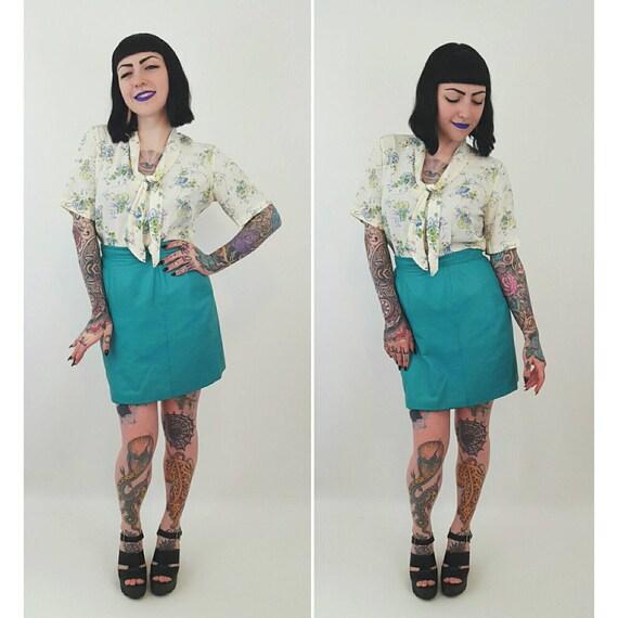 Teal Genuine LEATHER Mini Skirt Size Medium 8 10 - Turquoise High Waist Miniskirt - Blue Green Highwaisted Above Knee Length Pencil Skirt