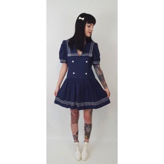 Vintage Schoolgirl Sailor Mini Dress Small - Schoolgirl Navy Mini Dress - Nautical Dark Blue Sailor Moon Pleated Collared Kawaii Angel Dress