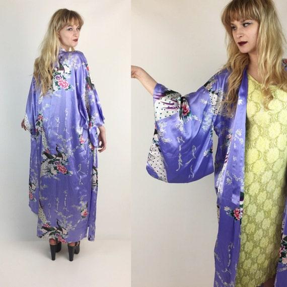 Peacock Printed 100% Silk Japanese Kimono Robe - Pastel Purple Long Authentic Kimono with Wrap Belt  - Women's Pastel Ceremony Layer Vintage