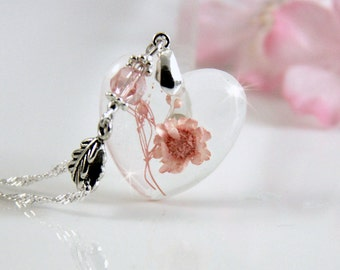 Terrarium Necklace, Resin Jewelry, Fairy Garden, Romantic Necklace, Pink Flower Necklace, Heart Necklace, Real Flower Necklace, Necklace