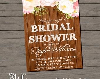 Bridal Shower Invitation | Rustic Shower Invite | Rustic Bridal Shower Invitation | Printable Invitation | Digital Invitation | Digital File