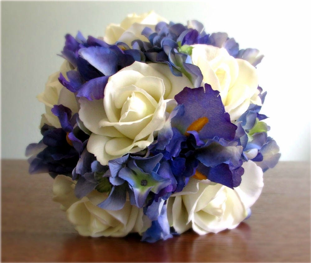 Ivory Blue Violet Wedding Bouquet Real Touch and Silk