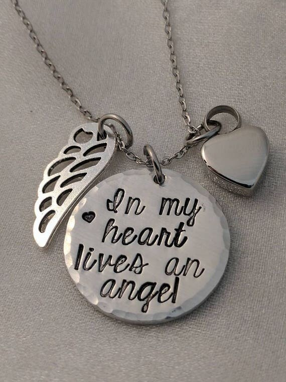 In My Heart Lives an Angel - Handstamped Memorial Necklace - In Memory Of - Sympathy Gift - Urn Necklace - Ashes Jewelry - Ash Keepsake