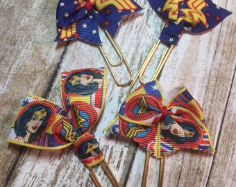 Wonder Woman Inspired - Choice of Ribbon Bow/Flag Planner Clips / Bookmarks