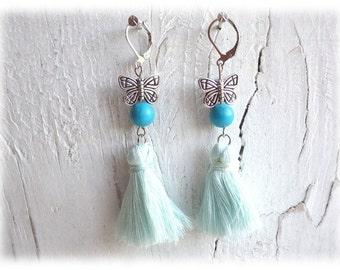 Filigree butterflies - earrings earrings silver color boho tassel turquoise