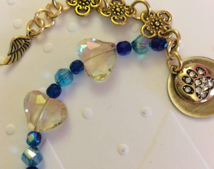 Rainbow bridge dog cat memorial bracelet name charm crystals