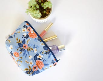Blue Floral Cosmetic Pouch, Large Makeup Bag, Bridal Party Gift, Toiletry Zipper Bag, Rifle Paper Fabric Project Bag, Purse Organizer Bag