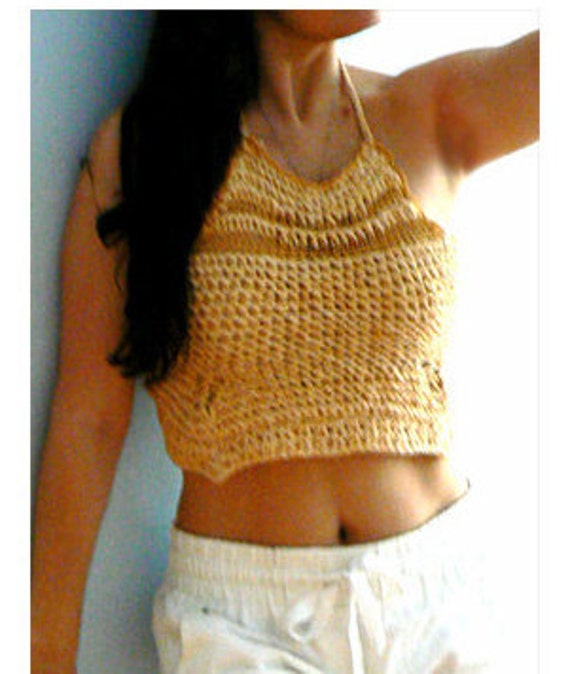 Sunflower knitted crop tank -Beige chunky halter top-Cotton chunky halter tank- Bohemian knitted top-Women summer sexy top