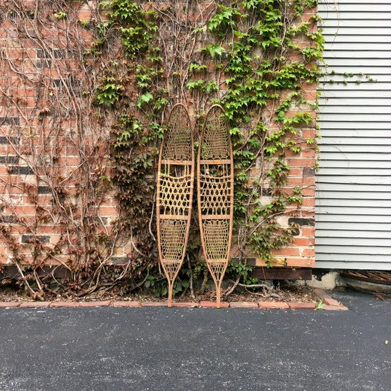 Large Pair Of Antique Snowshoes, Snocraft Inc, Norway Maine, US 1943, Rustic Home Decor, Wooden Snow Shoes, Large Antique Snowshoes