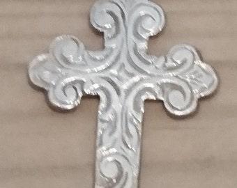 Large vintage sterling silver engraved cross