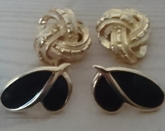 Two pairs of vintage clip on earrings