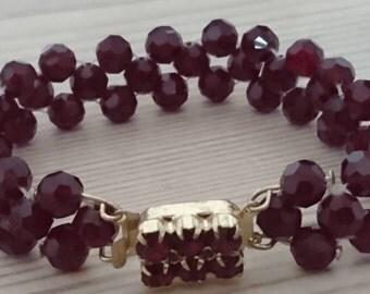Vintage garnet glass bead bracelet