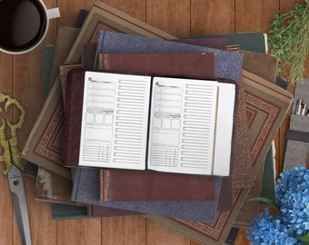 Ink Lined Detailed Day Planner - Mini Sally Printable Insert for Field Notes and Passport Traveler's Notebooks - For RPG Adventure Geeks