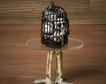 Creepy Miniature Halloween Bird Cage for your Dollhouse